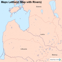 Maps Lettland (Map with Rivers)