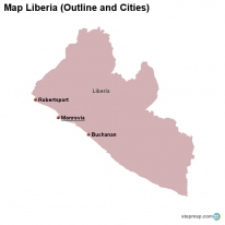 Map Liberia (Outline and Cities)