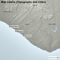 Map Liberia (Topography and Cities)