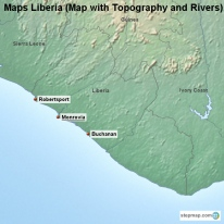 Maps Liberia (Map with Topography and Rivers)