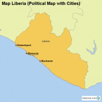 Map Liberia (Political Map with Cities)