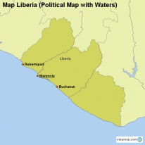 Map Liberia (Political Map with Waters)