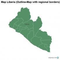 Map Liberia (Outline-Map with regional borders)