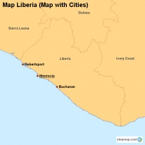 Map Liberia (Map with Cities)