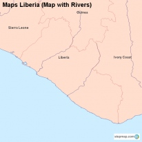 Maps Liberia (Map with Rivers)