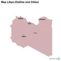 Map Libya (Outline and Cities)