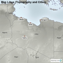 Map Libya (Topography and Cities)