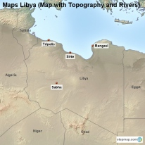 Maps Libya (Map with Topography and Rivers)