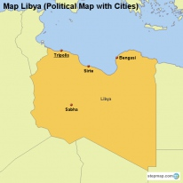 Map Libya (Political Map with Cities)