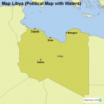 Map Libya (Political Map with Waters)