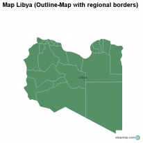 Map Libya (Outline-Map with regional borders)