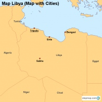Map Libya (Map with Cities)