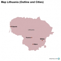 Map Lithuania (Outline and Cities)