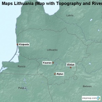 Maps Lithuania (Map with Topography and Rivers)