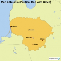 Map Lithuania (Political Map with Cities)