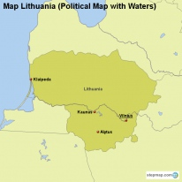 Map Lithuania (Political Map with Waters)