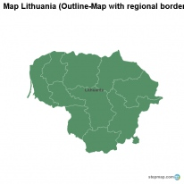 Map Lithuania (Outline-Map with regional borders)