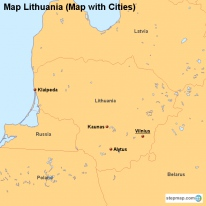 Map Lithuania (Map with Cities)