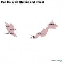 Map Malaysia (Outline and Cities)