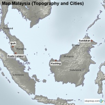 Map Malaysia (Topography and Cities)
