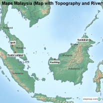 Maps Malaysia (Map with Topography and Rivers)