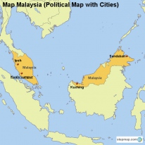 Map Malaysia (Political Map with Cities)