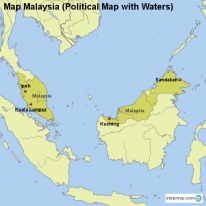 Map Malaysia (Political Map with Waters)
