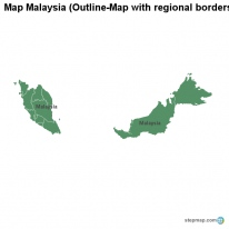Map Malaysia (Outline-Map with regional borders)