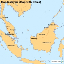 Map Malaysia (Map with Cities)