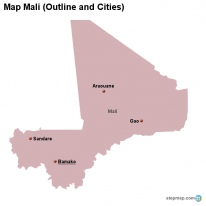 Map Mali (Outline and Cities)