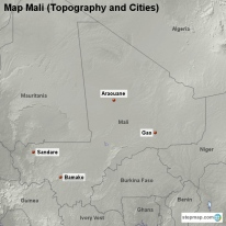 Map Mali (Topography and Cities)