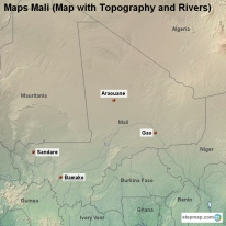 Maps Mali (Map with Topography and Rivers)