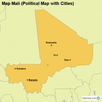 Map Mali (Political Map with Cities)