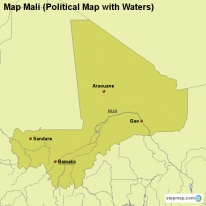 Map Mali (Political Map with Waters)