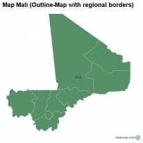 Map Mali (Outline-Map with regional borders)