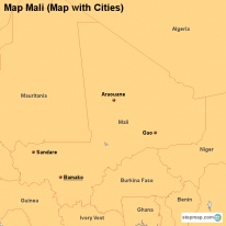 Map Mali (Map with Cities)