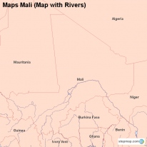 Maps Mali (Map with Rivers)