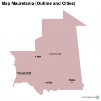 Map Mauretania (Outline and Cities)