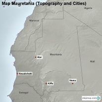Map Mauretania (Topography and Cities)