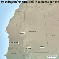 Maps Mauretania (Map with Topography and Rivers)