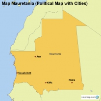Map Mauretania (Political Map with Cities)