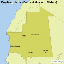 Map Mauretania (Political Map with Waters)