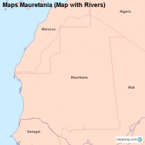 Maps Mauretania (Map with Rivers)