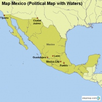 Map Mexico (Political Map with Waters)