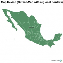 Map Mexico (Outline-Map with regional borders)
