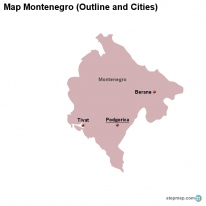 Map Montenegro (Outline and Cities)