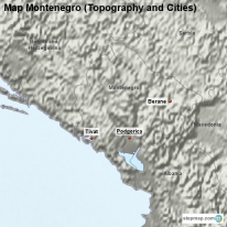 Map Montenegro (Topography and Cities)