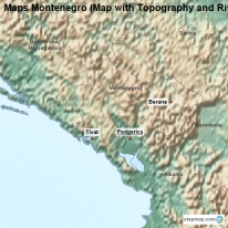 Maps Montenegro (Map with Topography and Rivers)