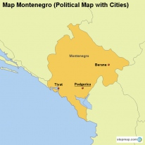 Map Montenegro (Political Map with Cities)