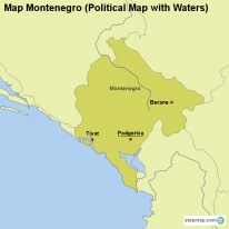 Map Montenegro (Political Map with Waters)